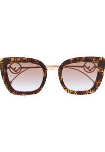 Fendi Eyewear Óculos De Sol Gatinho Ff - Marrom