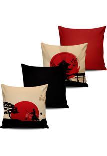 Kit 4 Capas Almofadas Decor Japonesa Vermelho Preto 45X45Cm - Multicolorido - Dafiti