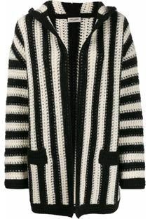 Saint Laurent Cardigan Listrado - Branco
