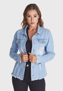 Jaqueta Jeans Hno Jeans Desfiada Delavê Azul - Feminino