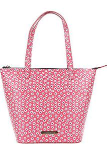 Bolsa Shopper Estampada Floral Loucos E Santos Feminina - Feminino-Vermelho