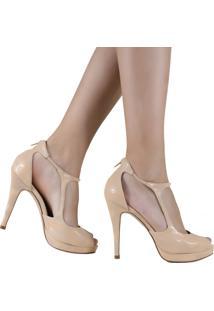 Sapato Laura Porto Bico Aberto Salto Fino Nude