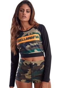 Blusa Cropped Army Camuflado Verde E Preto Labellamafia