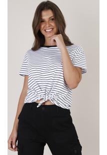Blusa Feminina Cropped Listrada Com Nó Manga Curta Decote Redondo Branca