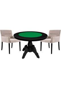 Mesa De Jogos Carteado Redonda Montreal Tampo Reversível Preto Com 2 Cadeiras Vicenza Nude - Gran Belo