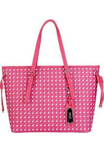 Bolsa Santa Lolla Shopper Geométrica Feminina - Feminino-Pink