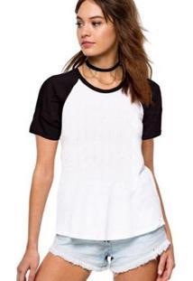 Camiseta Raglan Partiucompras Básica Lisa Feminina - Feminino