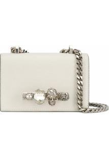 Alexander Mcqueen Bolsa Transversal Jeweled Mini - Branco