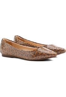 Sapatilha Shoestock Bico Fino Bordado Onça - Feminino-Onça