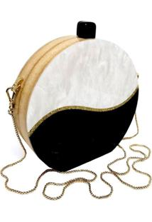Bolsa La Madame Co Clutch Top Contrast Branco/Preto