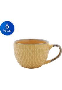 Conjunto De Xícaras Para Café 6 Peças 90 Ml 27607 -Bon Gourmet - Amarelo