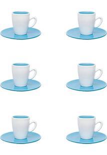 Conjunto 6 Xícaras Pequenas 75Ml Com Pires Oxford Expresso Azul/Branco