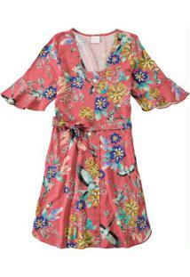 Vestido Rosa Estampado Com Abertura