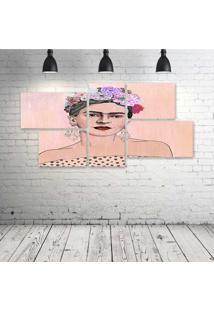 Quadro Decorativo - Peach-Frida - Composto De 5 Quadros - Multicolorido - Dafiti
