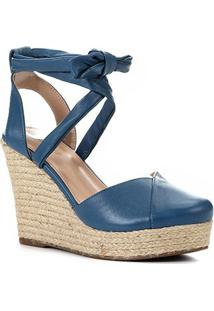 Sandália Anabela Shoestock Corda Tiras Feminina - Feminino-Azul Claro