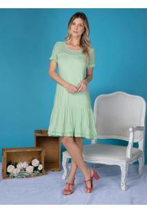 Vestido Com Babadinhos E Renda Verde Água