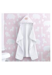 Toalha Banho Bebê Com Capuz Branco Leoa Rosa Gráo De Gente Rosa