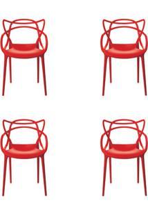 Kit 4 Peças Cadeira Allegra Masters De Polipropileno Rivatti Vermelha