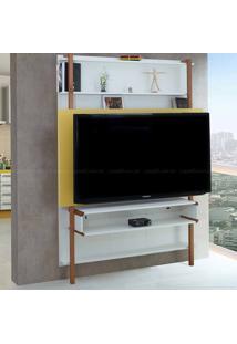 Estante Home Theater Para Tv Até 60 Polegadas Karl 180 X 134,8 X 25,5 Branco/Amarelo - Urbe Móveis