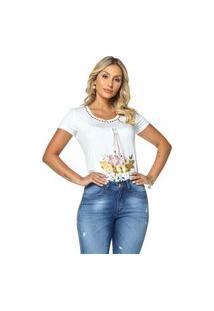 T-Shirt Daniela Cristina Gola U Profundo 05 602Dc10313 Branco
