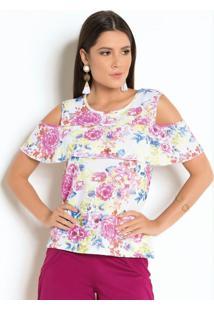 Blusa Floral Com Babado E Ombros Vazados