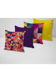 Kit 4 Capas Para Almofadas Decorativas Geométricos Multicolor