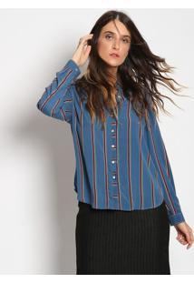 Camisa Listrada Com Tag - Azul & Vermelhavip Reserva