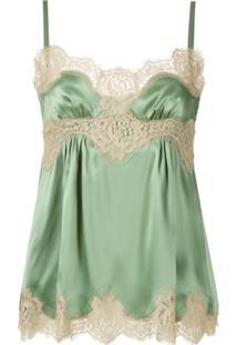 Dolce & Gabbana Blusa De Seda Com Renda - Verde