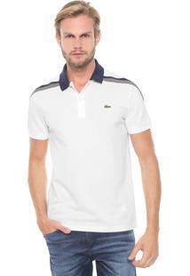 Camisa Polo Lacoste Heritage Listrada Off-White