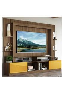 """Rack Estante C/ Painel Tv 65"""" E 2 Portas Oslo Multimóveis Madeirado/Amarelo"""