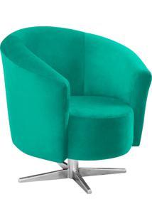 Poltrona Decorativa Angel Suede Verde Turquesa Com Base Estrela Giratória Em Aço Cromado - D'Rossi.