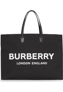 Burberry Bolsa Tote Com Logo - Preto