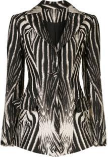 Christian Siriano Blazer Com Estampa De Zebra - Preto