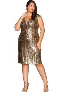 Vestido Almaria Plus Size Pianeta Paetê Dourado