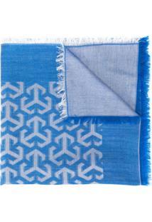 Tory Burch Lenço Com Estampa De Logo - Azul