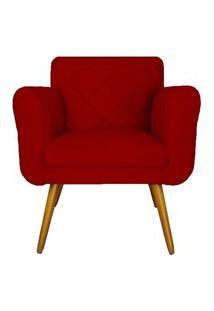 Poltrona Decorativa Isabella Em Tressê Suede Vermelho - Ds Móveis