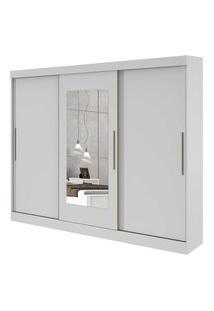 Guarda Roupa Casal C/ Espelho 3 Portas 4 Gavetas Montebello Móveis Lopas Branco