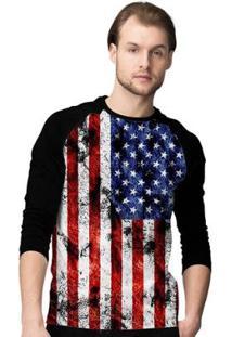 Camiseta Manga Longa Stompy Flag Masculina - Masculino-Preto