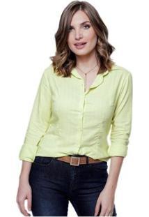 Camisa Lisa Sob Colors Viscose Texturada Feminina - Feminino-Verde