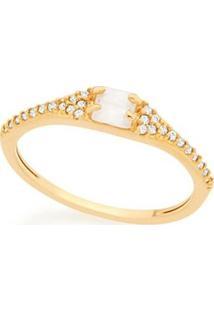 Anel Skinny Ring Cristal E Zircônias Rommanel - Feminino-Dourado