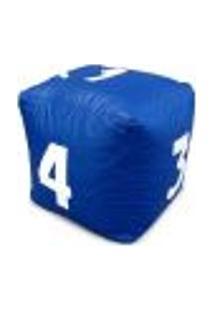 Puff Infantil Dado Grande Em Couro Sintético Azul Royal Com Números Brancos