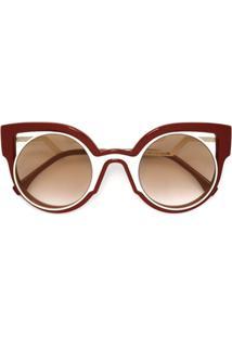 Fendi Eyewear Óculos De Sol 'Paradeyes' Em Acetato - Vermelho