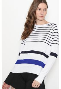 Blusão Em Tricô Listrado Com Fendas - Branco & Azul Marimalwee