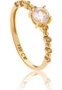 Anel De Ouro 18K Aro Com Diamantes E Pedra Redonda Cristal