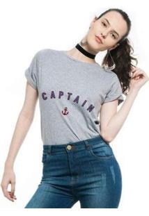 Camiseta Joss Estampada Captain Feminina - Feminino-Mescla