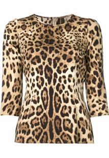 Dolce & Gabbana Blusa De Moletom Com Estampa De Leopardo - Neutro