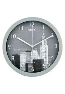 Relógio De Parede - Redondo Foto De Cidades - 30Cm Cinza