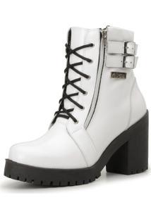 42f79f4bb0 ... Bota Coturno Cano Curto Atron Shoes Couro Branco Verniz