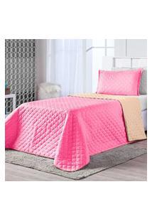Kit Cobre Leito Dual Color Pink/Caqui Solteiro 02 Peças - Dupla Face