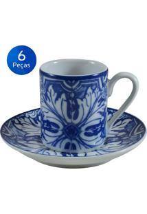 Conjunto 6 Xícaras De Café Com Pires Azulejo - Schmidt - Branco / Azul